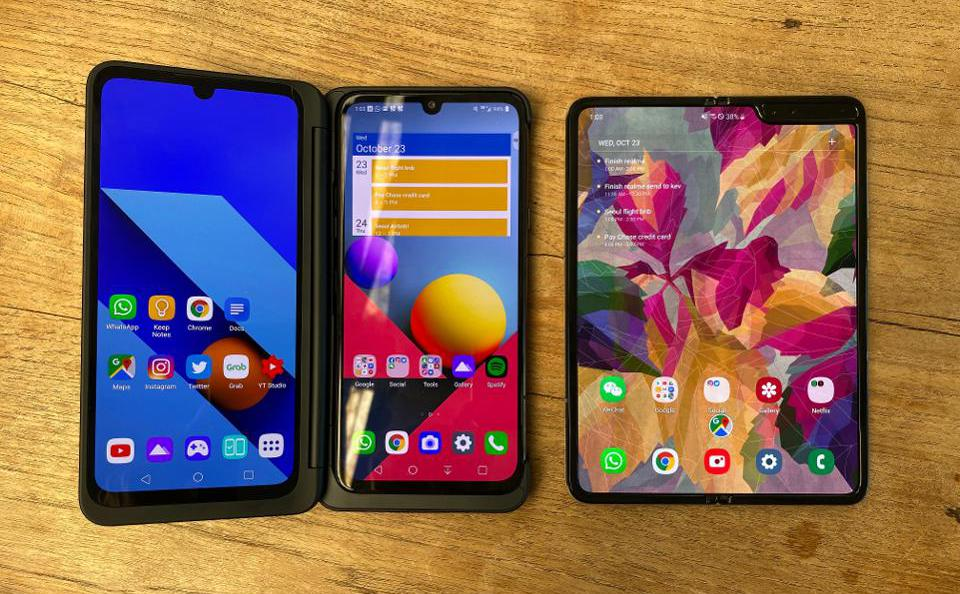 The LG G8X Dual Screen and the Samsung Galaxy Fold.