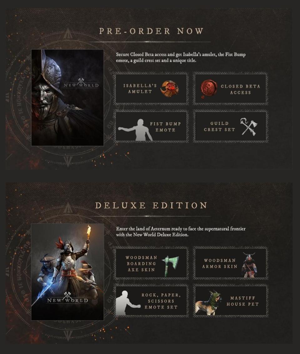 Pre-order bonuses and details for New World.