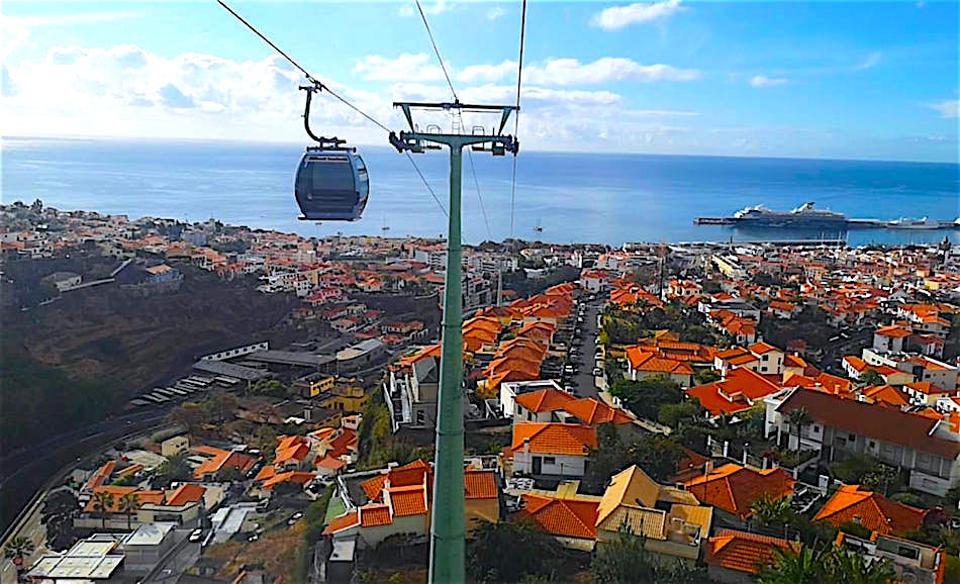 The  cable car to the Botanical Gardens, Funchal, Madeira.