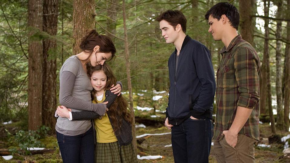 Kristen Stewart, Taylor Lautner, Robert Pattinson, and Mackenzie Foy in The Twilight Saga Breaking Dawn - Part 2