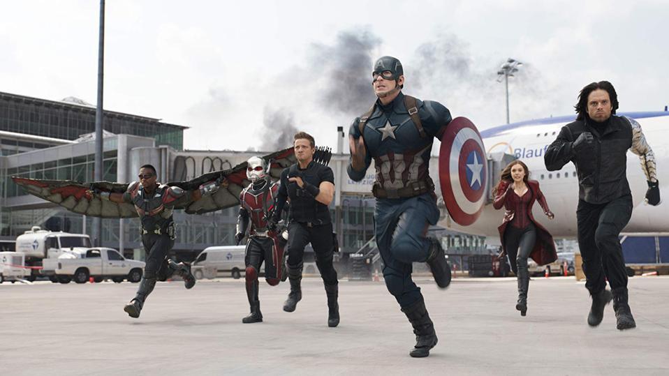 Chris Evans, Elizabeth Olsen, Jeremy Renner, Paul Rudd, Anthony Mackie, and Sebastian Stan in 'Captain America Civil War'