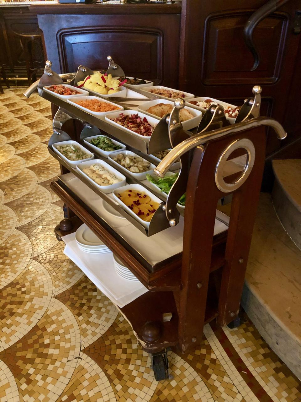 Only available at lunch on weekdays, the appetizer trolley is a hit at Orsay in New York.