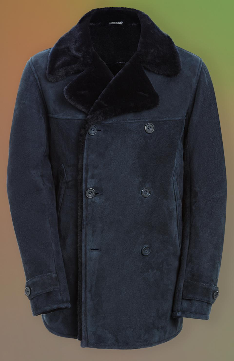 Pea coat in suede shearling by Richard James
