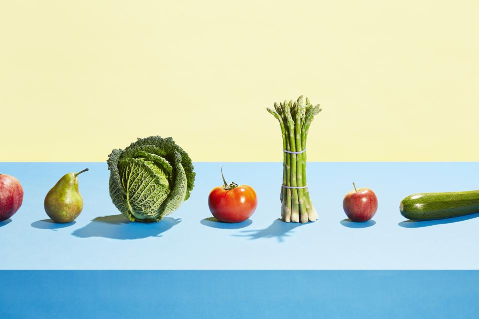 A row of different fruit and vegetables