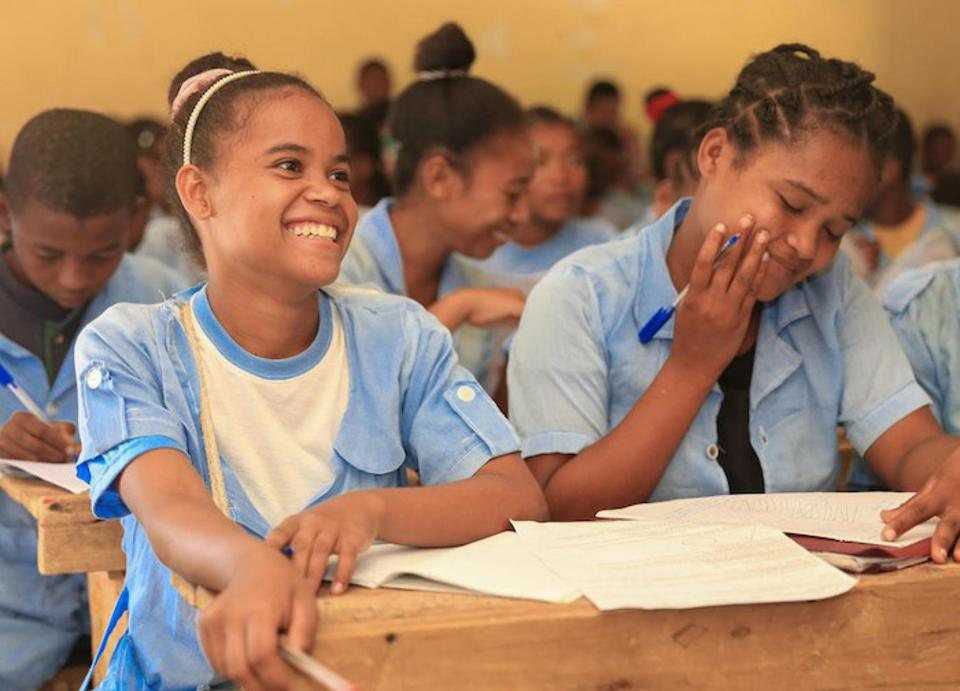 Students in Madagascar — including 15-year-old Soavazaha, left, who goes to school in Amboasary, a town in the Anosy region — participate in a life skills program supported by UNICEF's Let Us Learn initiative.