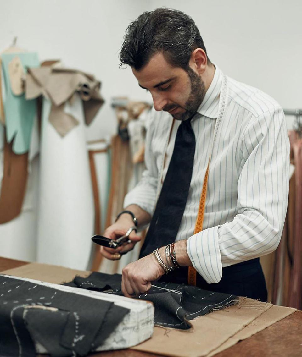 The entire waitstaff at Sartoria Lamberti is outfitted by Gennaro Annunziata, the New Sartorial Thread winner of the Best Young Tailor award in 2018.