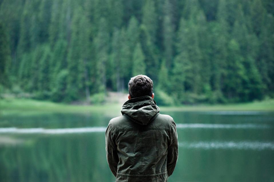 Man focused in nature