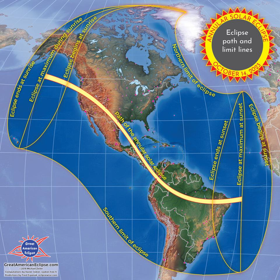 The annular solar eclipse of 2023 that will cross North America.