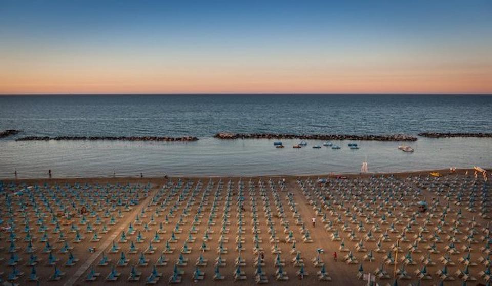The beach at Rimini at sunset