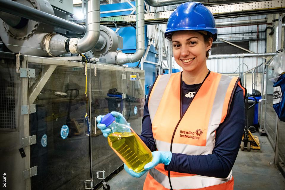 Recycling Technologies systems engineer Dale Rautenbach doing her bit for plastic waste