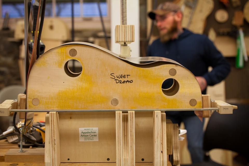 Guitar frame in a factory in Appalachia.