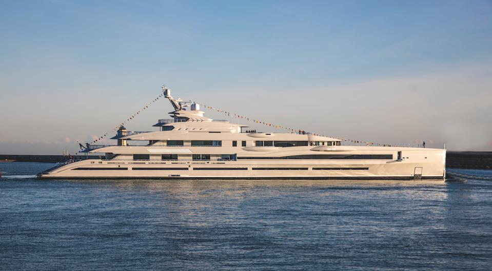 The 350-foot-long Lana was designed and built by the Italian superyacht yard Benetti.