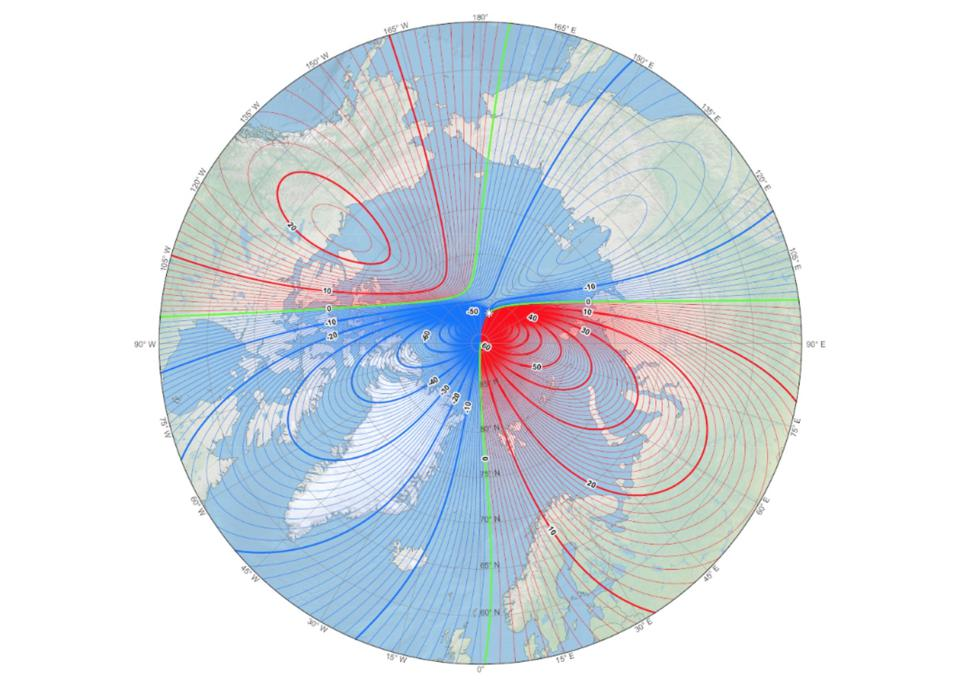 Current location of Earth's magnetic north pole