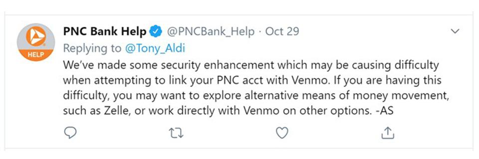 PNC response to Venno help requests