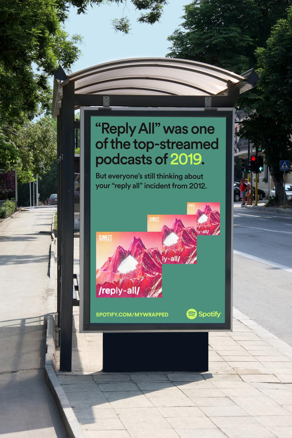 Spotify is advertising podcasts as part of its 2019 Wrapped campaign.