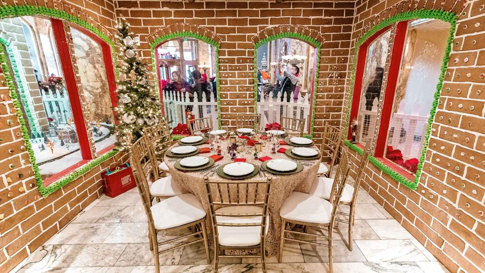 Life-sized gingerbread house at The Fairmont.