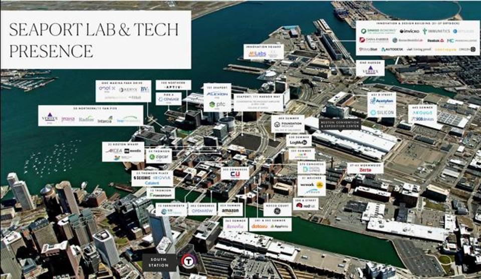 Aerial shot of Boston Seaport
