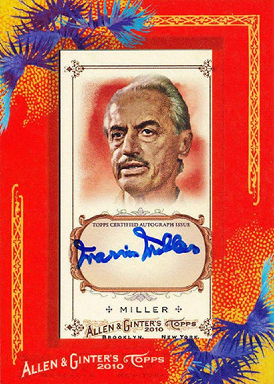 2010 Topps Allen and Ginter Marvin Miller autograph.