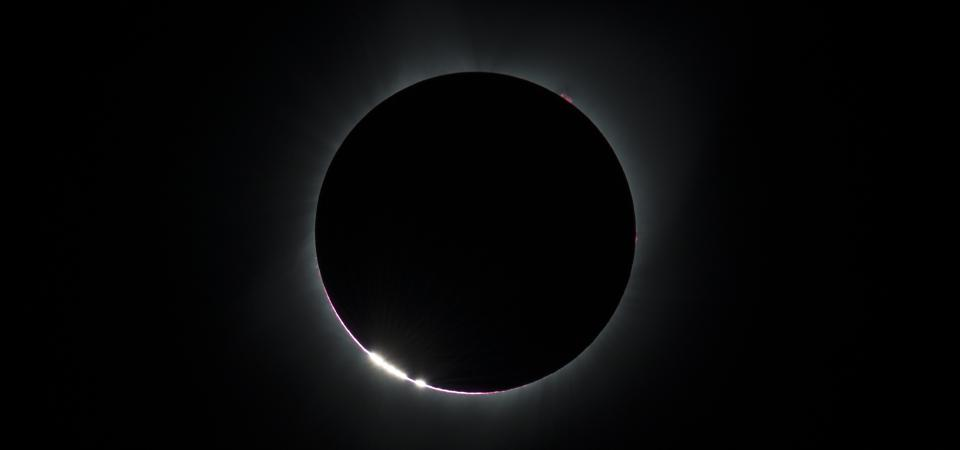 The Baily's Beads effect is seen as the moon makes its final move over the sun during the total solar eclipse on Monday, August 21, 2017 above Madras, Oregon. A total solar eclipse swept across a narrow portion of the contiguous United States from Lincoln Beach, Oregon to Charleston, South Carolina. A partial solar eclipse was visible across the entire North American continent along with parts of South America, Africa, and Europe.