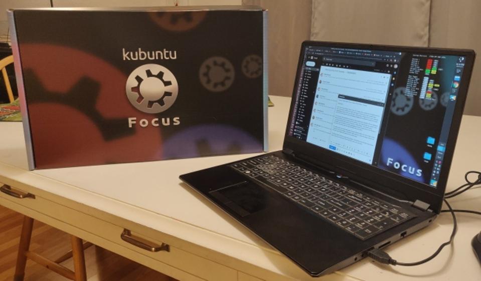 A press photo of the Kubuntu Focus laptop