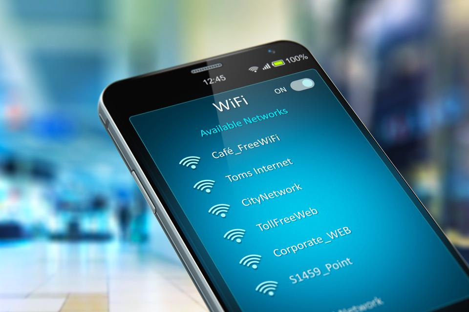 List of WiFi networks on smartphone in the shopping mall