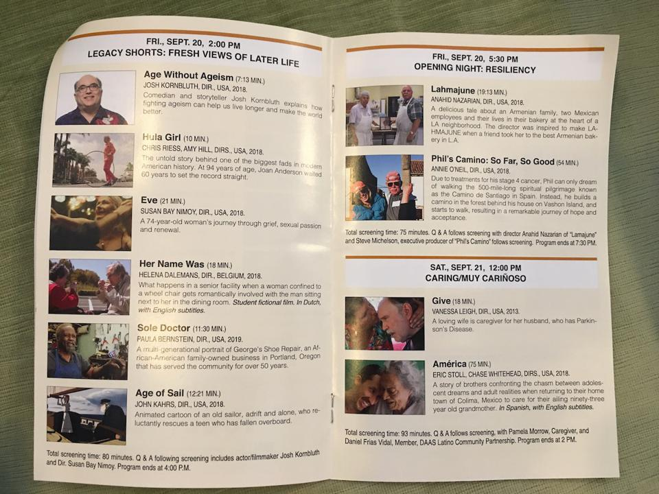 The Legacy Film Festival on Aging schedule.
