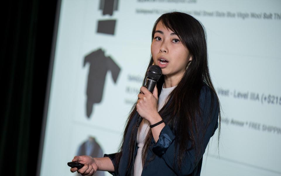 Vy Tran presents her bulletproof hoodie product.