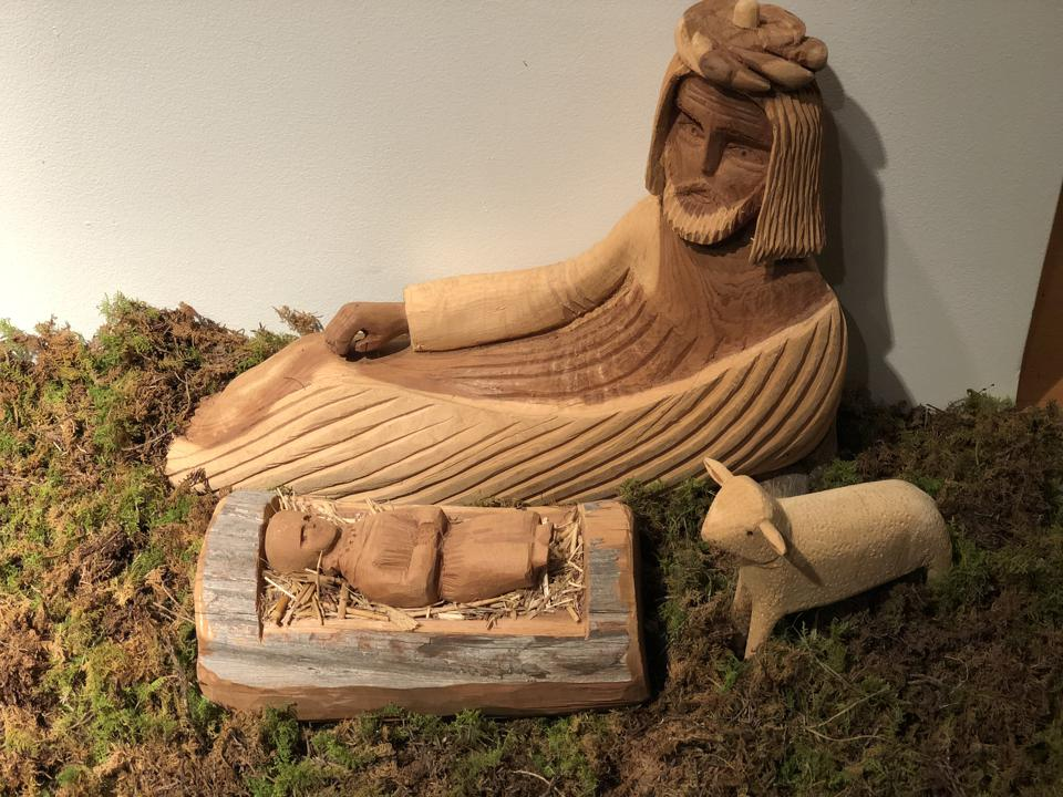 Wooden Carving at Mepkin Abbey Creche Festival