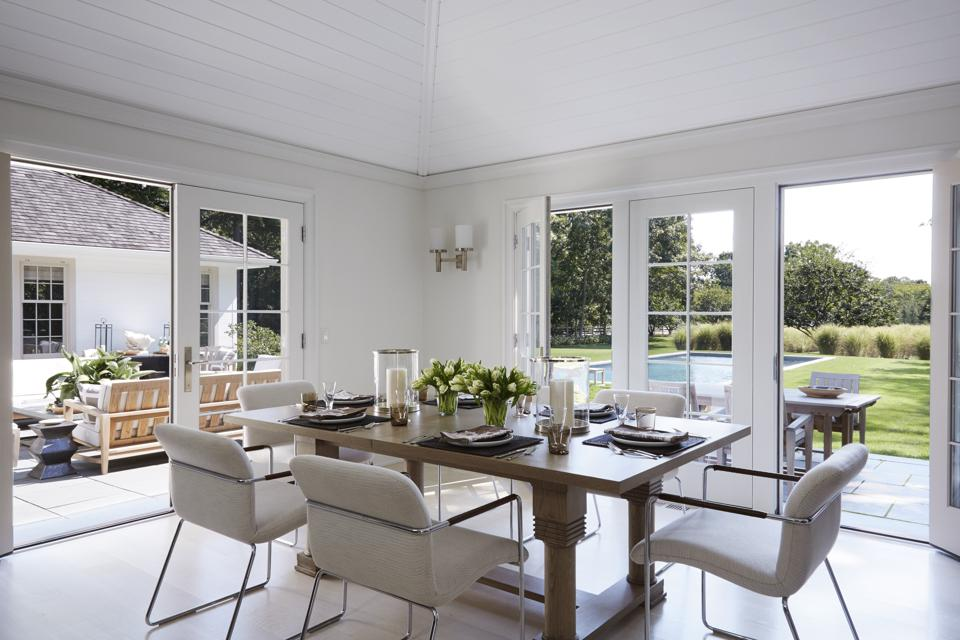 The dining room of a Hamptons home.