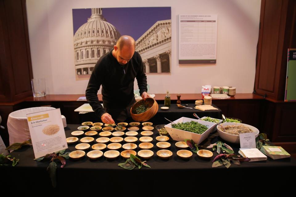 Chef Erik Oberholtzer prepares amaranth tabouli. Forever Food Summit 2019 - Room Shot's-8806
