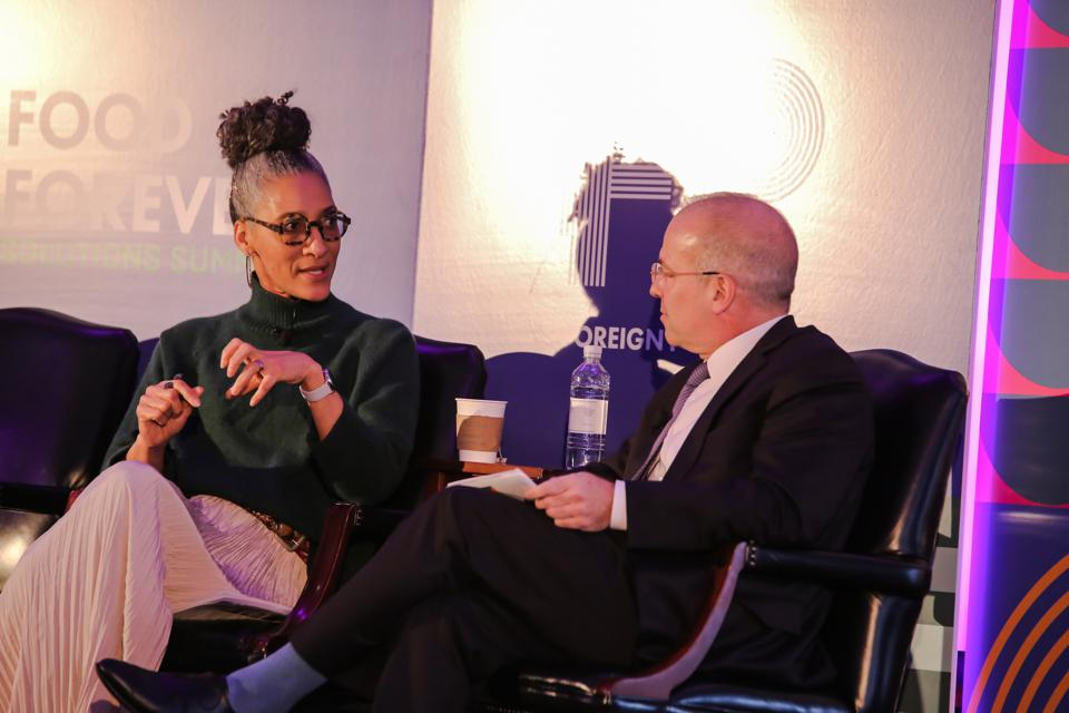 Chef Carla Hall interviewed by Andrew Sollinger, Publisher of Foreign Policy. Forever Food Summit 2019 - Panel's & Keynotes-8499