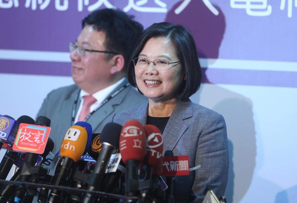 Tsai Ing-wen talks to the media.