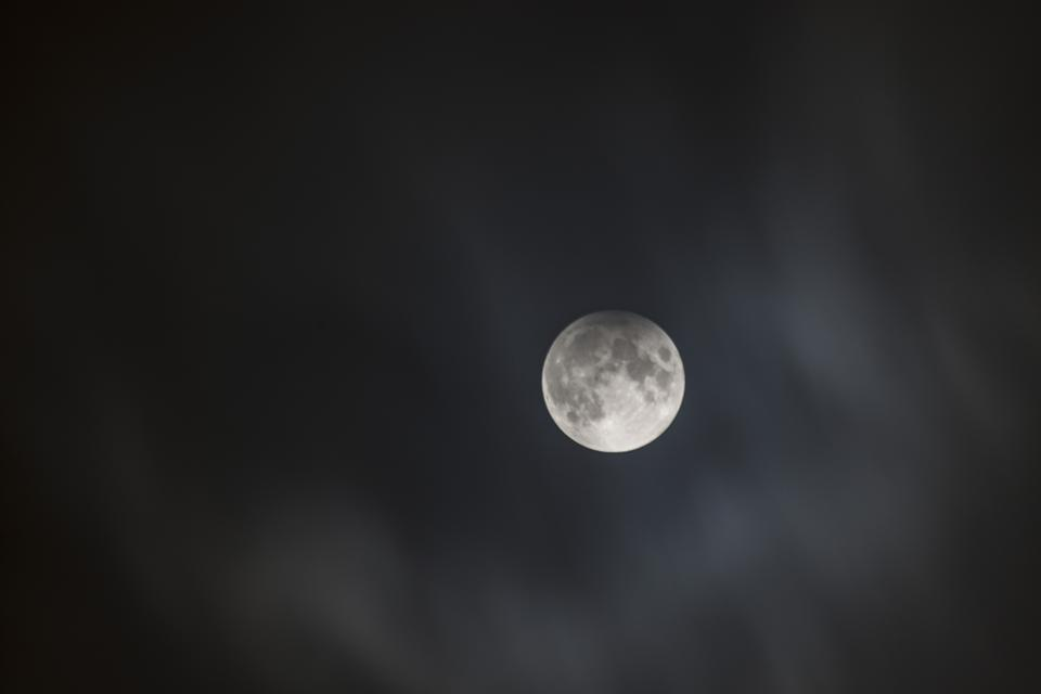 A penumbral lunar eclipse from Cardiff, Wales, in 2017.