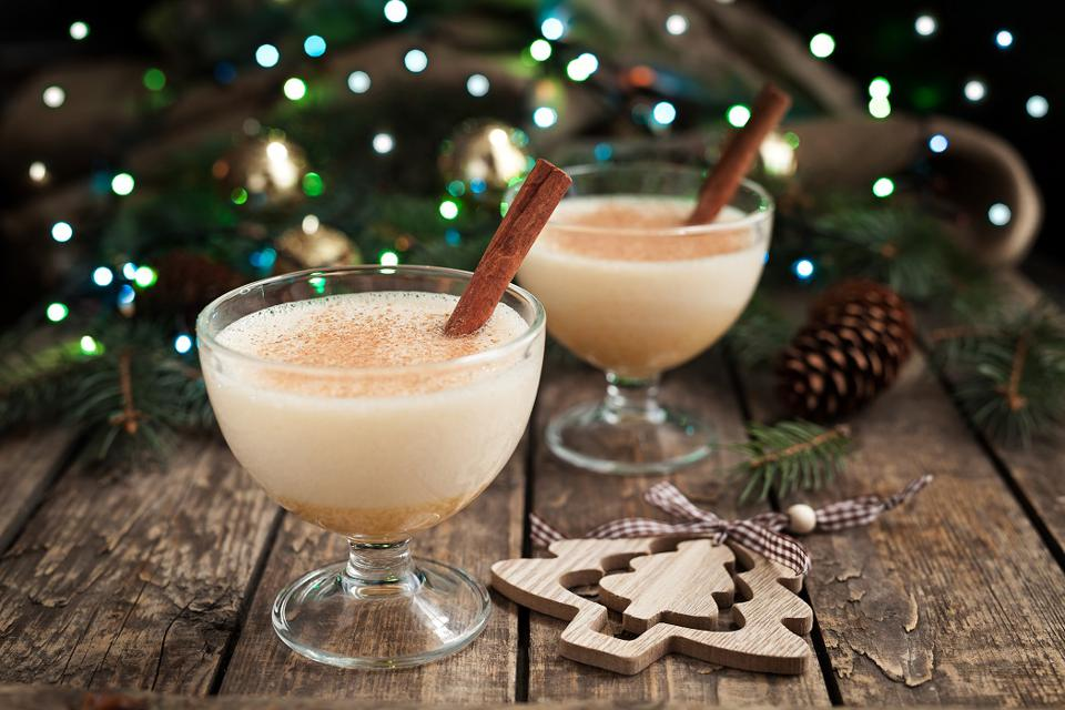 Eggnog traditional xmas homemade winter egg, milk, rum, vanilla alcohol