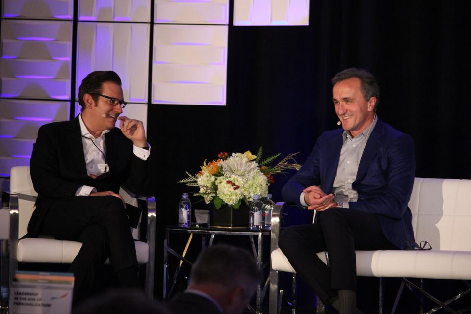 Glenn Llopis and Dr. Mihaljevic during their fireside chat at the Age of Personalization Executive Summit.