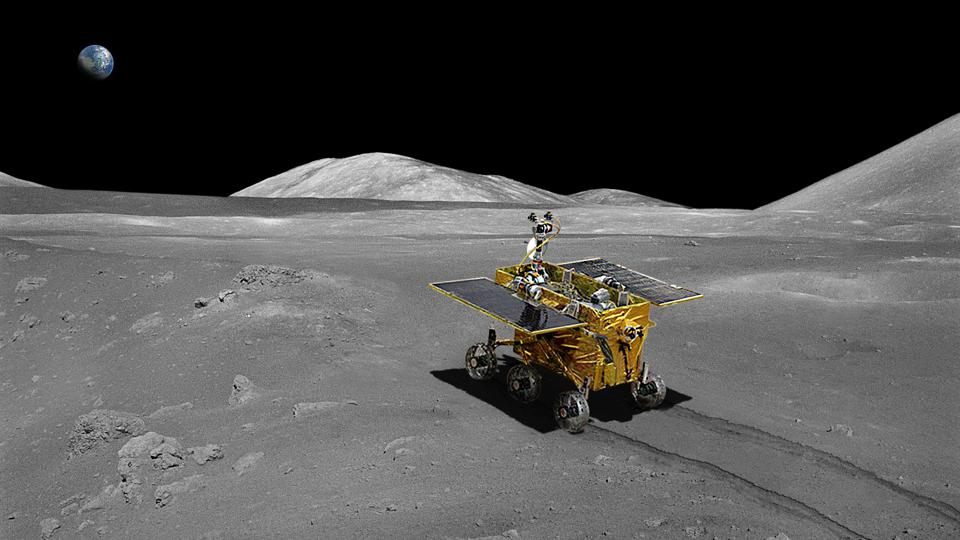China's moon rover on the lunar surface.