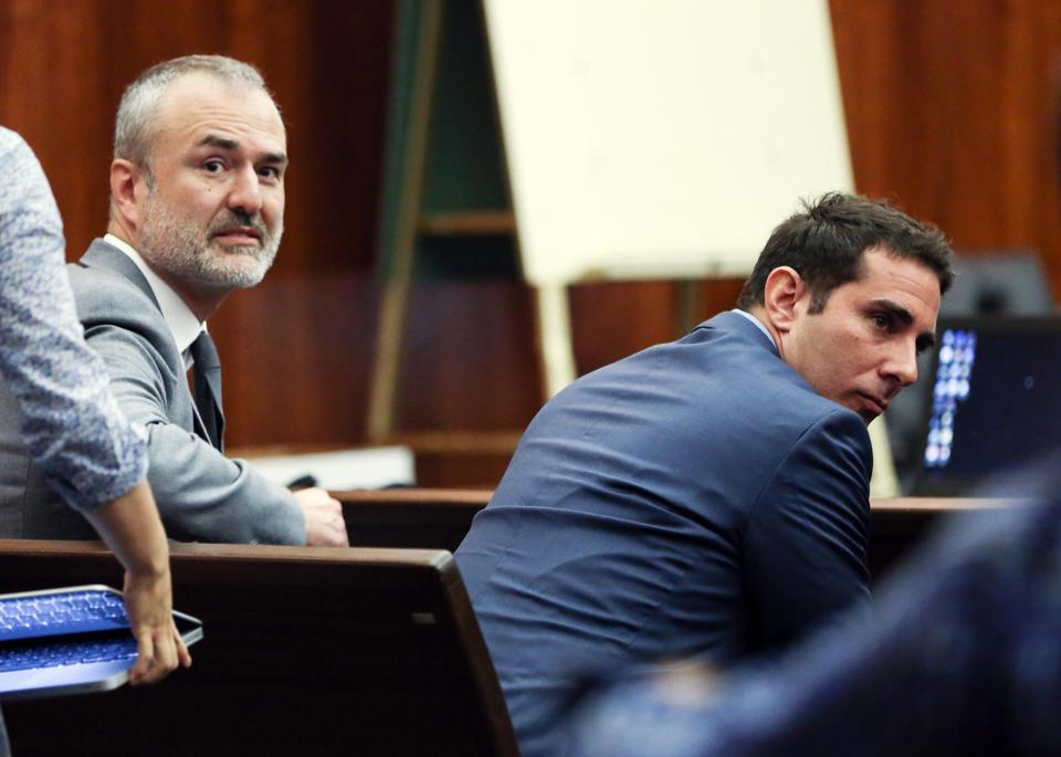 Gawker Media founder Nick Denton (left) and former editor A.J. Daulerio sit inside a St. Petersburg, Fla. courtroom during the Hulk Hogan trial in March.