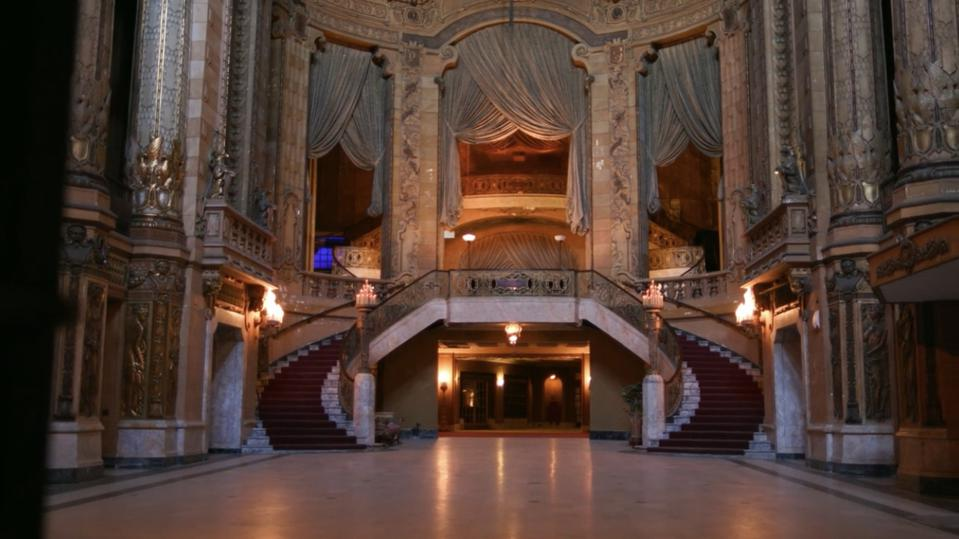 The lobby inside the Uptown Theatre in Chicago