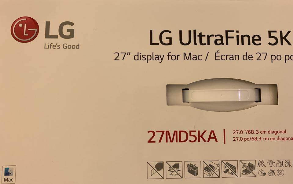 LG Ultrafine 5K. Note the 'Mac' symbol in lower left.