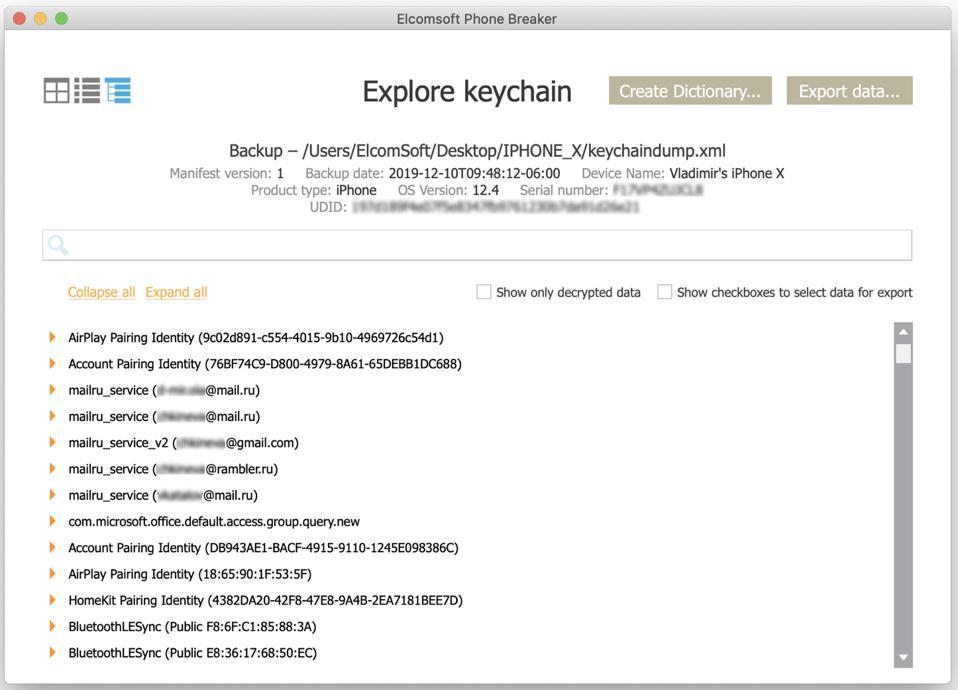Keychain extraction data.
