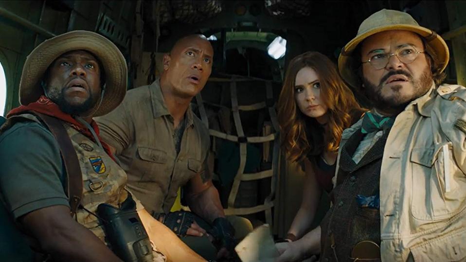 Kevin Hart, Dwayne Johnson, Karen Gillan and Jack Black in 'Jumanji The Next Level'