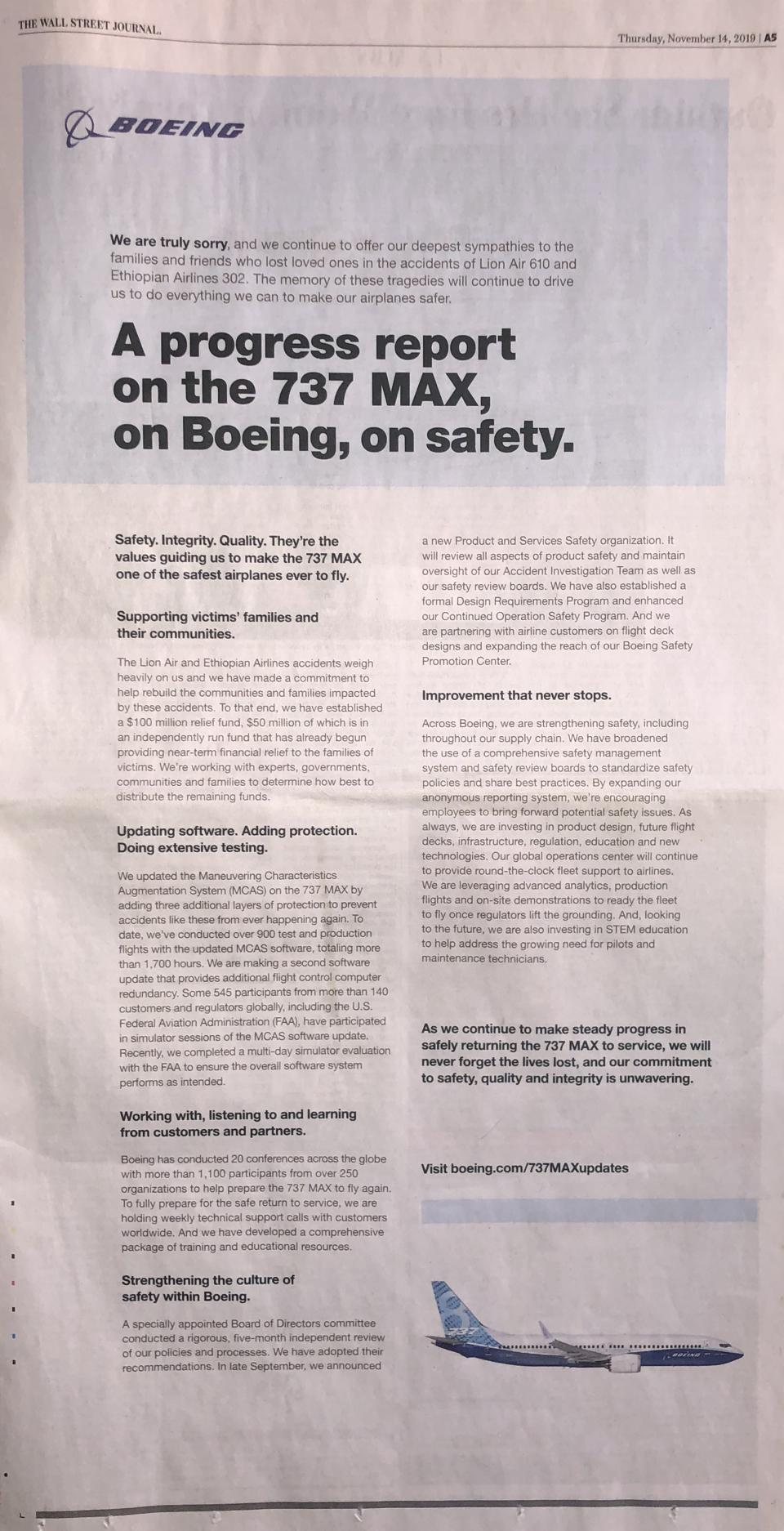 Boeing advertisement in The Wall Street Journal last November.