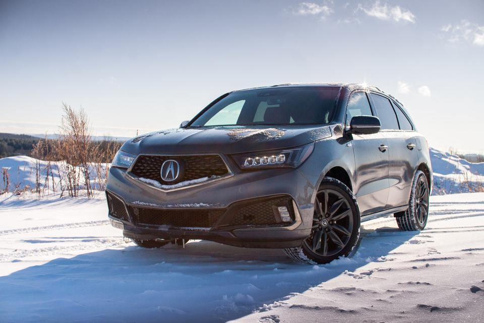 front view of 2020 Acura MDX A-spec in gray with black wheels