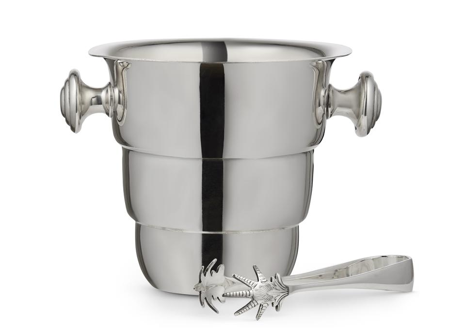 Vintage silver-plated ice bucket and tongs from the Wolseley Group