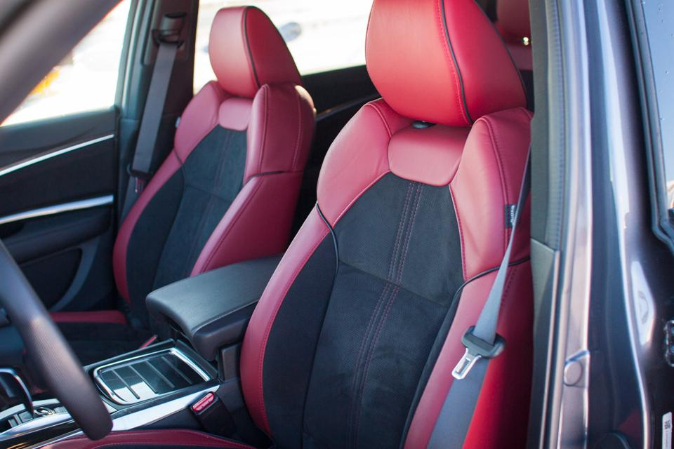 2020 Acura MDX A-Spec red leather and black alcantara seats