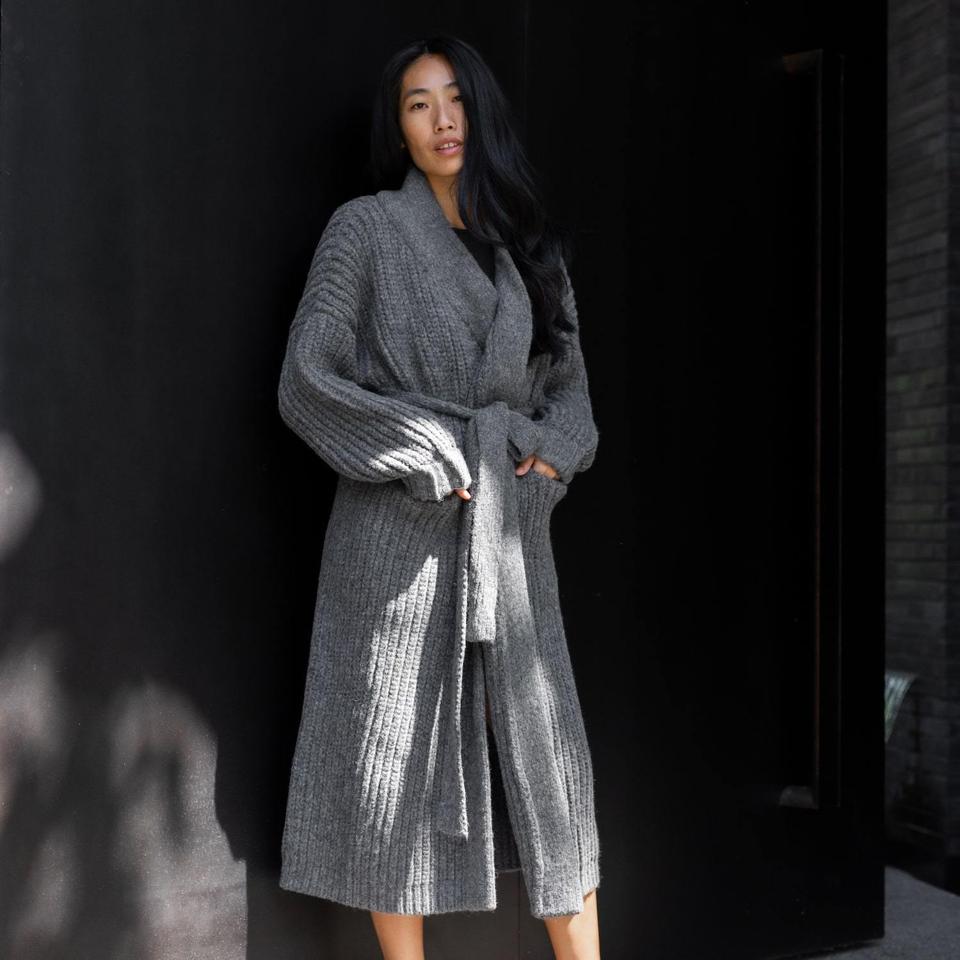 Cozy Alpaca Knit Belted Cardigan by Lunya