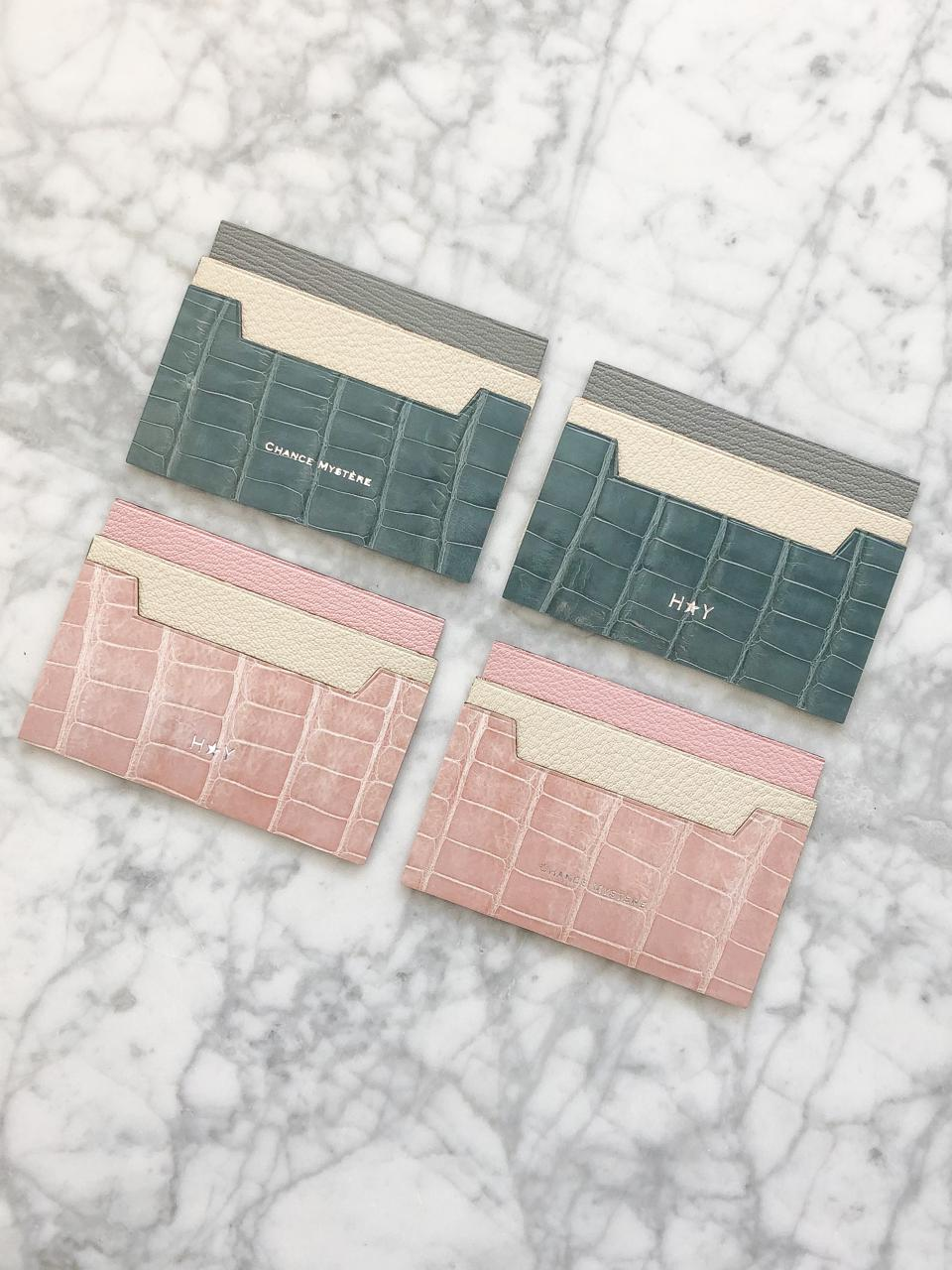Monogrammed card holders by Chance Mystère