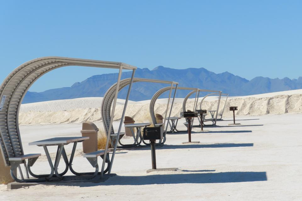 Picnic tables at White Sands National Park