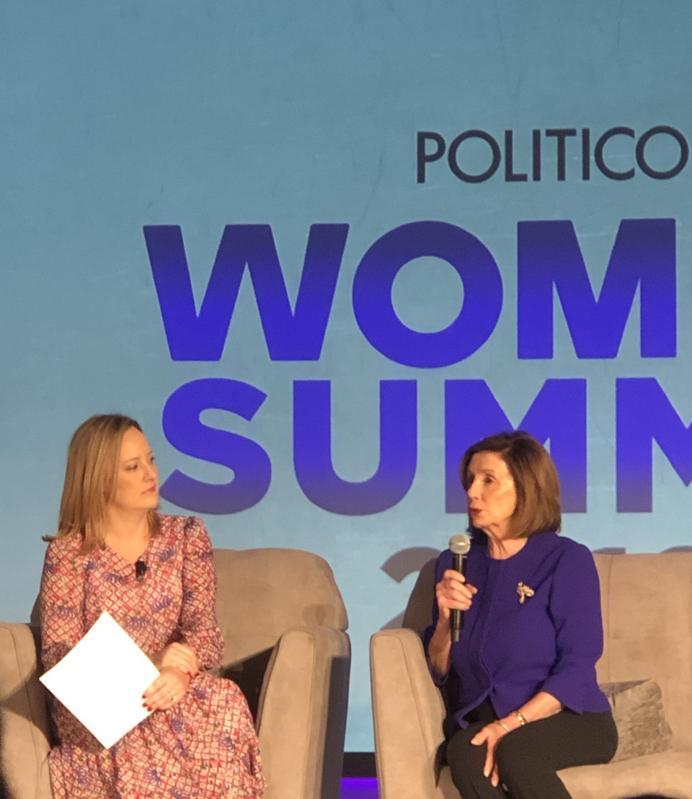 Anna Palmer, Politico and Speaker Nancy Pelosi at Politico's Women Rule 2019 Summit