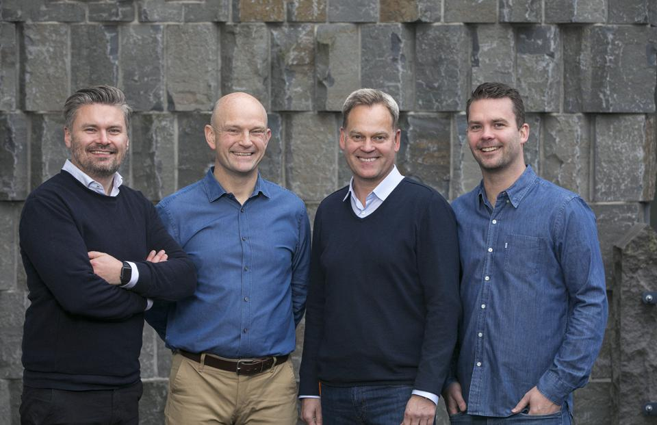 Monerium's four co-founders. CCEO Svein Valfells is second from left, Jón Helgi Egilsson second from right.